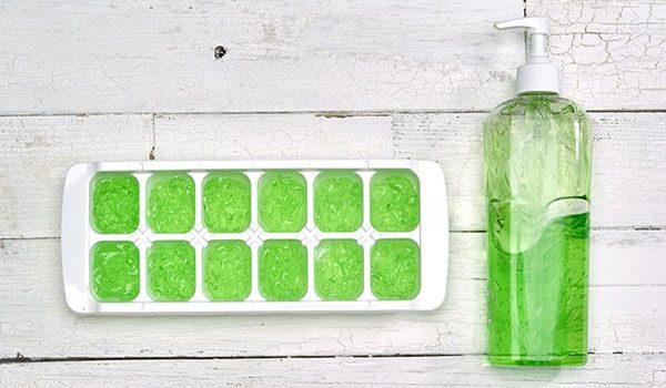 Aloe Vera gel ice cubes for sunburn