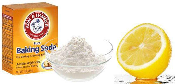 Lemon juice with Baking Soda for teeth whitening